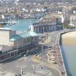 View from Weymouth Tower. Hotel is in middle - between harbour & beach.