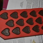  The finished product, chocolate hearts.