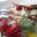  Mille-feuille with whipped cream and wild strawberries