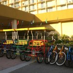 Bikes for rent in front of hotel