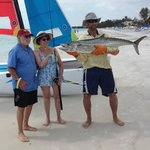  45 lb kingfish caught right off shore.  Pix shows beach at hotel