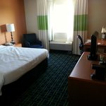 view to the room with the king bed. Comfortable mattress