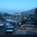 Skiers Plaza taken from The Pan Pacific. Sundial on left.