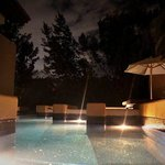  nighttime by the pool