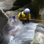 Rappelling the waterfalls of Pleiades Canyon
