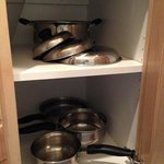 Pots and pans in 1-bedroom Villa kitchenette