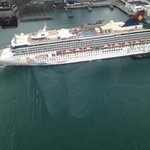 views of cruise ship from cable car