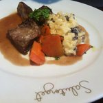  Tender braised veal cheek, morel risotto and rosemary sauce