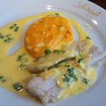 Roasted cod, potato puré with crayfish and hollandaise with spring onion