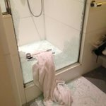  Shower enclosure - glass exploded
