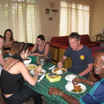 dinner with clients at Malazi Hostel