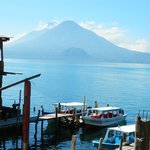 view at the shoreline of Lake Atitlan (short walk from hotel)