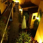 the view from our hallway down in the hotel's courtyard