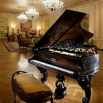 Lobby of The Westage Hotel with gorgeous antique Steinway.