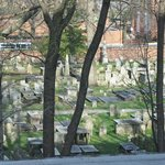 View of Burial Grounds from rooms in rear of hotel.