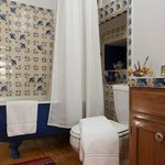 The PRIVATE bath for the Wildflower room is across the hall. The antique clawfoot tub is wonderf