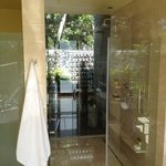 Looking through our shower to the outdoor shower in the new magnificent Premium villas