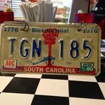 Clever menu covers are made from old license plates
