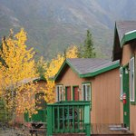  View of some of the creekside cabins.