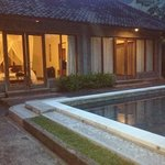  2 bedroom pool villa at dusk