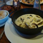 Steamed clams with artichokes and fresh bread at the Davenport Roadhouse Inn.