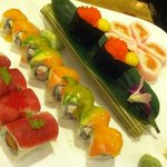  Left to right: Cherry Blossom, Sunset Roll, Smelt Fish Roe with Quail Egg, and Pink Ocean Roll