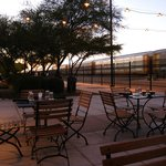 Outdoor seating, facing the tracks