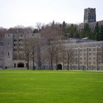 Parade Ground and Dorms, Cadet Chapel on Hill