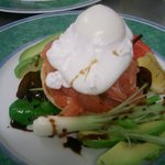 Home cured salmon with poached duck egg