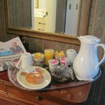 The breakfast tray brought to our room each morning.