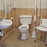 Bathroom with wet room shower, suitable for disabled use