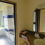 Very large shower room with deep hot thermal tub & shoer