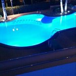 The pool at night from our room