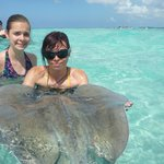 Both my girls at Stingray Sandbar