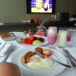  my breakfast, Peter set it up by the window facing the tv so I can watch my favorite show, Spong
