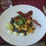  Gourmet Breakfast: Blue corn tostata, eggs, black bean &amp; corn relish, avacado mousse, and more!