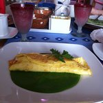  Mango and cheese filled omelette on fresh spinach salsa...to die for!