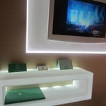 The LED illuminated table and TV