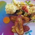  Ackee and salt fish with fried plantain and eggs