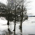 The Fllods of 2013 brought water almost up to the Inn. This picture shows the dock under water