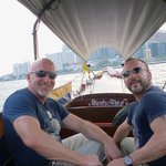 On the Chao Phraya in our long-tail boat!