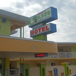  Sign and front of hotel