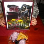 Fantastic blueberry pie & blueberry ice cream, Tugboat Inn Restaurant, Boothbay Harbor, ME