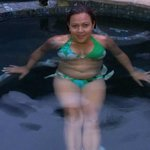Rosa in Jacuzzi in the Black Lagoon pool area
