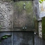 The outdoor shower, really cool, amazing carvings in the stone.