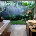 View of semi outdoors bathroom area from room