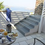 Out side of our room with private patio and view where you eat breakfast