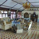 this is the hall on the first floor of the host's bungalow with a italian marble floor..