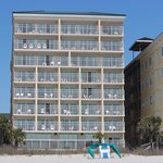 View of the oceanfront rooms.  Our two bedroom was on the right corner on the top floor