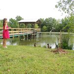 Lia and the ducks in front of the pond